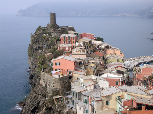 View from above of Vernazza, Cineque Terre, Italy